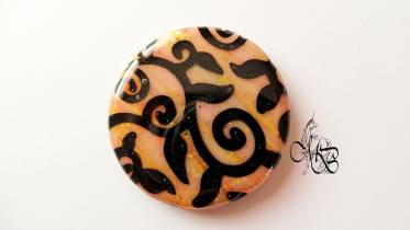Flat puck / cabochon (hand) of MISS BRISTLING, polymer clay retsina, about 40MM