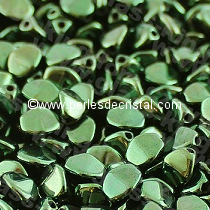 50 PINCH 5X3MM EN VERRE COLORIS METALLIC GREEN 23980/14495