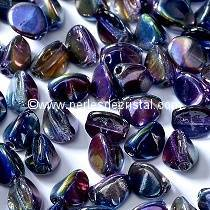 50 PINCH 5X3MM EN VERRE COLORIS CRYSTAL MAGIC BLUE 00030/95100