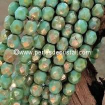 50 BOHEMIAN GLASS FIRE POLISHED FACETED ROUND BEADS 4MM COLOURS OPAQUE TURQUOISE GREEN PICASSO 63130/43400