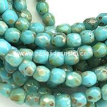 50 BOHEMIAN GLASS FIRE POLISHED FACETED ROUND BEADS 4MM COLOURS OPAQUE BLUE TURQUOISE PICASSO 63030/43400