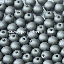25 SMOOTH ROUND BEADS 6MM ALABASTER METALLIC STEEL 02010/29403 - ARGENT