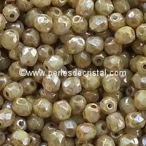 50 BOHEMIAN GLASS FIRE POLISHED FACETED ROUND BEADS 4MM COLOURS OPAQUE WHITE PICASSO 03000/43400
