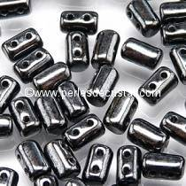10GR RULLA 3X5MM GLASS COLOURS JET HEMATITE 23980/14400 - BLACK/SILVER
