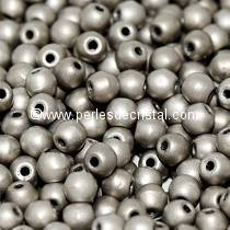 50 PERLES RONDES LISSES 3MM JET ARGENTIC FULL MAT 23980/27570