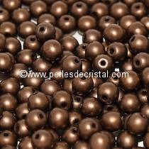 50 SMOOTH ROUND BEADS 3MM JET BRONZE MATTED 23980/84415