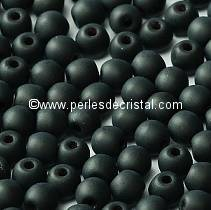 50 SMOOTH ROUND BEADS 3MM JET MATTED 23980/84110 - BLACK MAT