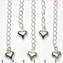 SILVER TONE EXTENSION CHAIN HEART 50 TO 60MM