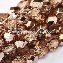 50 BOHEMIAN GLASS FIRE POLISHED FACETED ROUND BEADS 4MM COLOURS CRYSTAL PEACH METALLIC ICE 00030/67887