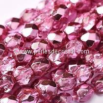 50 BOHEMIAN GLASS FIRE POLISHED FACETED ROUND BEADS 4MM COLOURS CRYSTAL PINK METALLIC ICE 00030/67282