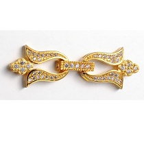 Clasp flowers clips, with rhinestone GOLD 39x13MM