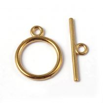 Round toggle clasp 15mm + bar 21 mm - GOLD