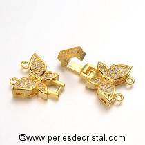 Fermoir à clip, papillons, 2 rangs avec strass en OR - DORE 34x14MM