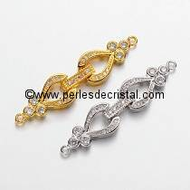 Clasp clips, 1 row with rhinestone GOLD 43x10MM