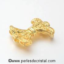 Superb clasp knot clip, with rhinestones on the edge, GOLD 23x32MM