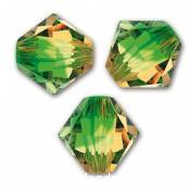 50 BICONES 4MM CRISTAL SWAROVSKI COLOURS FERN GREEN TOPAZ BLEND #5328