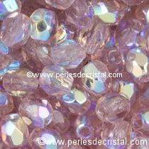 25 BOHEMIAN GLASS FIRE POLISHED FACETED ROUND BEADS 6MM COLOURS LIGHT AMETHYST AB 20020/28701