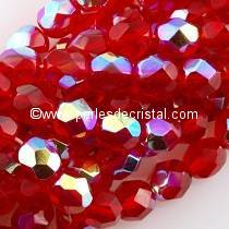 25 BOHEMIAN GLASS FIRE POLISHED FACETED ROUND BEADS 6MM COLOURS LIGHT SIAM AB 90080/28701