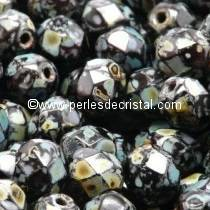50 BOHEMIAN GLASS FIRE POLISHED FACETED ROUND BEADS 4MM COLOURS JET TRAVERTIN DARK 23980/86805