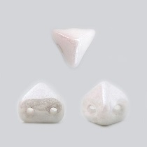 10GR PERLES Super-KhéopS® PAR PUCA® 6X6MM COLORIS OPAQUE WHITE CERAMIC LOOK 03000/14400