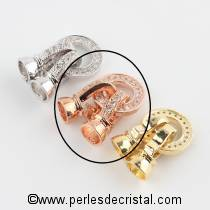 Clasp, round, 2 clips, 1 row with rhinestone PINK - GOLD 27x11MM