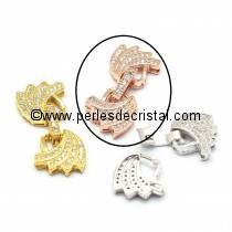 Clasp wings clips, with rhinestone PINK / GOLD 28x13MM