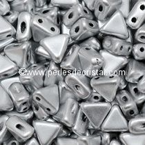 10GR KHEOPS® BY PUCA® BEADS 6MM - TRIANGLE GLASS COLOURS SILVER ALUMINIUM MAT 00030/01700
