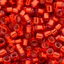 PAQUET 50gr PERLES ROCAILLES MIYUKI DELICA 11/0 - 2MM DYED RED SILVER LINED DB0602 - DB602 - DB-602