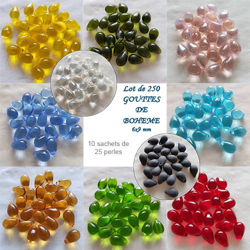 DISCOVERY OFFER: 10 COLORS 25 DROPS 6X9MM - OF 250 DROPS