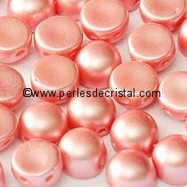20 PERLES EN VERRE 2-HOLE CABOCHON 6MM COLORIS PASTEL LIGHT CORAL 02010/25007
