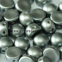 20 PERLES EN VERRE 2-HOLE CABOCHON 6MM COLORIS PASTEL LIGHT GREY SILVER 02010/25028