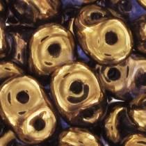 10GR SUPERDUO 2.5X5MM EN VERRE COLORIS LIGHT GOLD BRONZE 24 CARATS 00030/90215