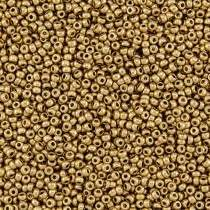 10gr PERLES ROCAILLES MIYUKI 11/0 - 2MM COLORIS LIGHT GOLD MAT - 55127 - OR - DORE - AZTEC