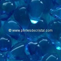 25 DROPS BOHEMIAN 6X9MM GLASS COLOURS CAPRI BLUE 60080