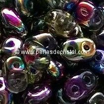10GR SUPERDUO 2.5X5MM EN VERRE COLORIS CRYSTAL MAGIC VIOLET GREEN