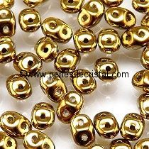 10GR SUPERDUO 2.5X5MM GLASS COLOURS GOLD - CRYSTAL AMBER FULL - 00030/26440