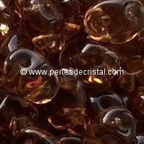 10GR SUPERDUO 2.5X5MM EN VERRE COLORIS SMOKED TOPAZ 10230