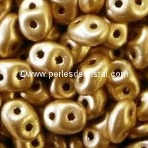 10GR SUPERDUO 2.5X5MM EN VERRE COLORIS LIGHT GOLD MAT 00030/01710