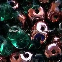 10GR SUPERDUO 2.5X5MM GLASS COLOURS EMERALD CAPRI GOLD 50720/27101