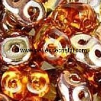 10GR SUPERDUO 2.5X5MM EN VERRE COLORIS TOPAZ CAPRI GOLD