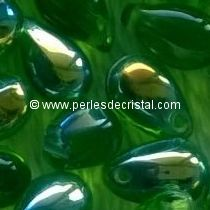 25 DROPS BOHEMIAN 6X9MM GLASS COLOURS PERIDOT AB 50520/28701