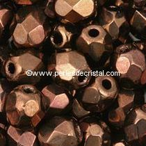 50 BOHEMIAN GLASS FIRE POLISHED FACETED ROUND BEADS 4MM COLOURS DARK BRONZE 23980/14415