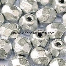50 BOHEMIAN GLASS FIRE POLISHED FACETED ROUND BEADS 4MM COLOURS CRYSTAL LABRADOR FULL 00030/27000 - SILVER