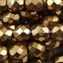50 BOHEMIAN GLASS FIRE POLISHED FACETED ROUND BEADS 4MM COLOURS GOLD BRONZE 23980/90215