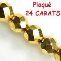 50 FACETTES 4MM CRISTAL VERRE DE BOHEME COLORIS DORE PLAQUE OR 24 CARATS / GOLD 00030/26200