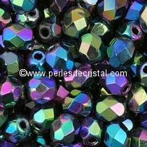 50 BOHEMIAN GLASS FIRE POLISHED FACETED ROUND BEADS 4MM COLOURS JET AB2X 23980/28300 - BLACK MULTICOLOR
