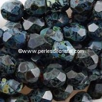 50 BOHEMIAN GLASS FIRE POLISHED FACETED ROUND BEADS 4MM COLOURS JET PICASSO 23980/43400 - BLACK