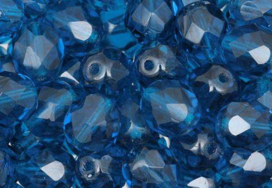 50 BOHEMIAN GLASS FIRE POLISHED FACETED ROUND BEADS 4MM COLOURS COBALT 60080