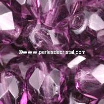 50 BOHEMIAN GLASS FIRE POLISHED FACETED ROUND BEADS 4MM COLOURS AMETHYST MEDIUM 20060
