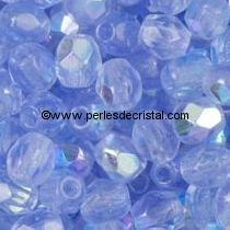 50 BOHEMIAN GLASS FIRE POLISHED FACETED ROUND BEADS 4MM COLOURS LIGHT SAPPHIRE AB 30020/28701